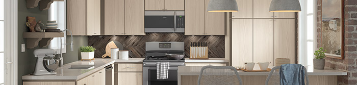 Juno textured laminate kitchen cabinets in Tusk finish