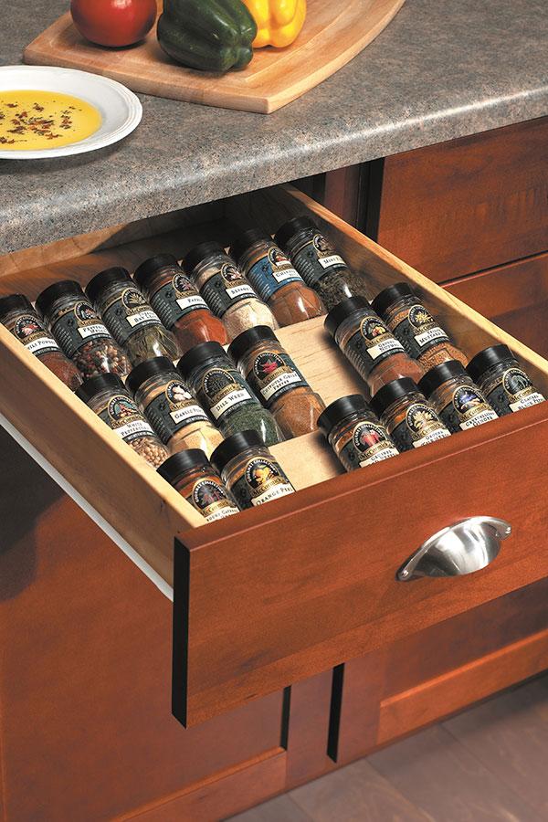 Bon Wood Spice Drawer Cabinet Insert; HomWallPulloutCBrdS