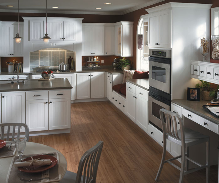 White Beadboard Kitchen Cabinets By Homecrest Cabinetry ...