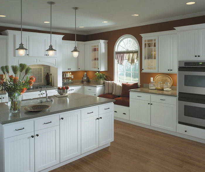White Beadboard Kitchen Cabinets - Homecrest