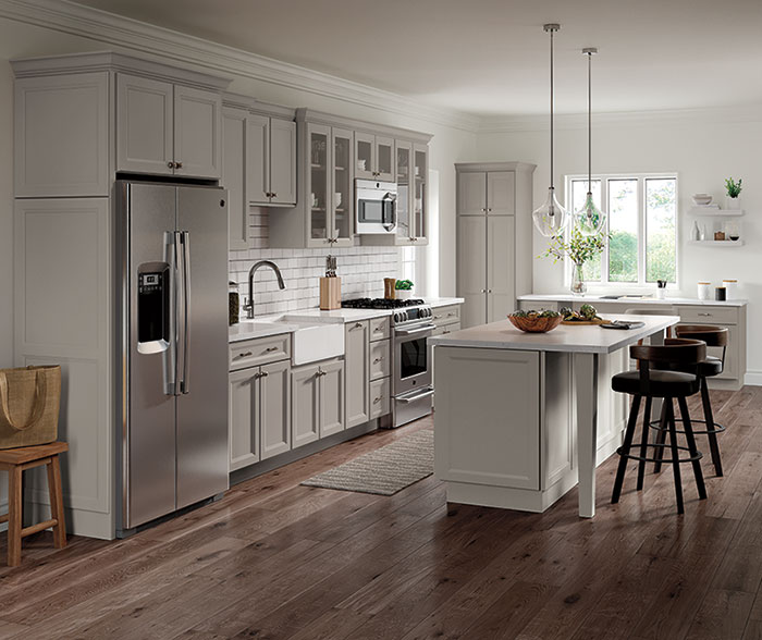 Gray Cabinets in Transitional Kitchen