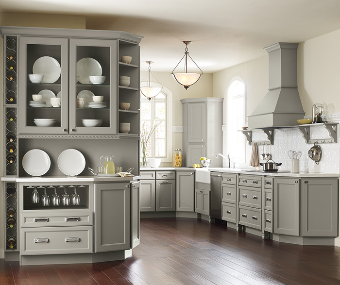 Brenner Gray Kitchen Cabinets In Maple Willow ...