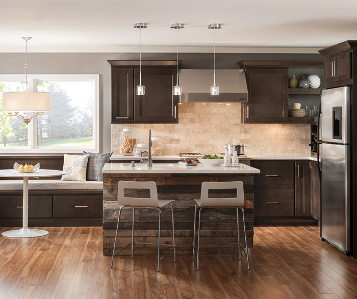 Dark Maple Cabinets In Casual Kitchen