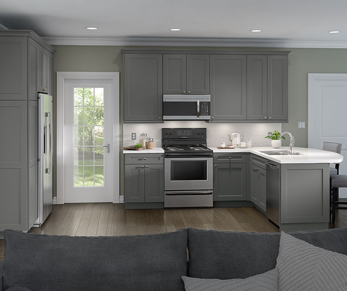 White Cabinets With A Gray Kitchen Island Homecrest