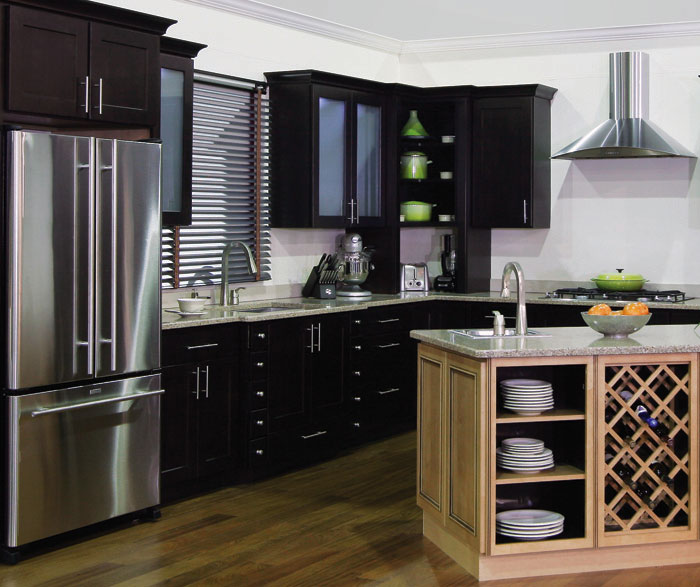 Java kitchen cabinets in the Dover door style
