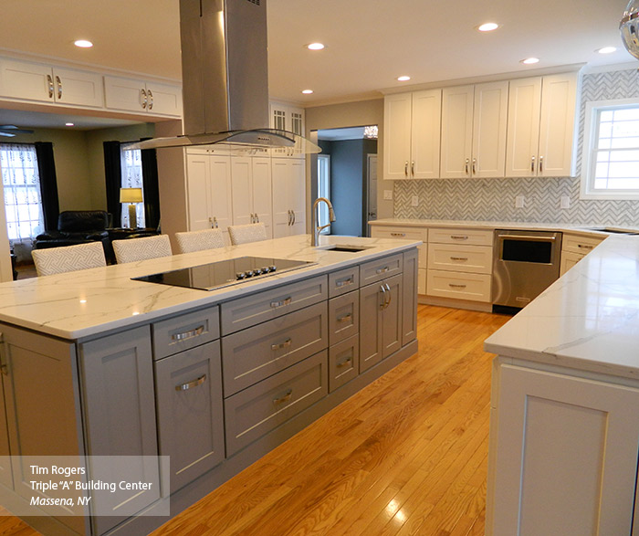 Lovely White And Gray Painted Shaker Style Kitchen Cabinets ...