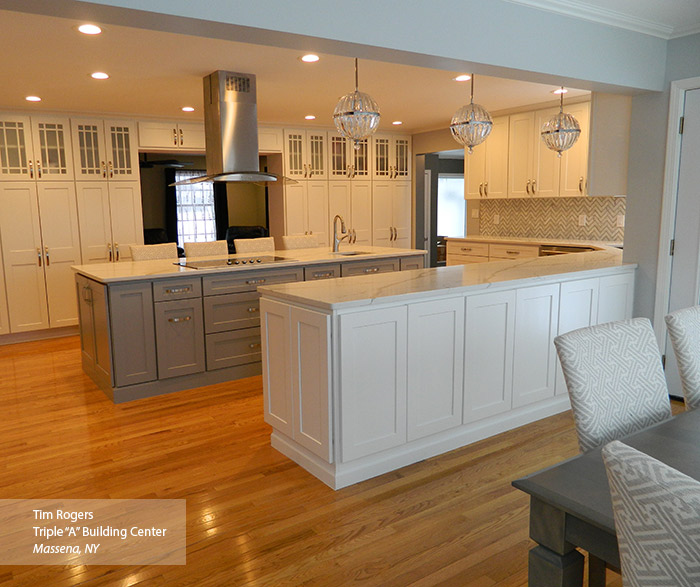 White and gray painted Shaker style kitchen cabinets