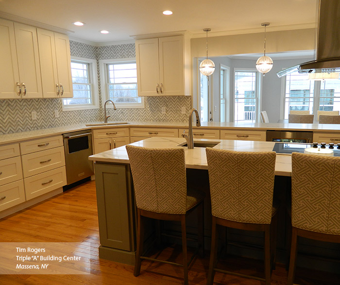 ... White And Gray Painted Shaker Style Kitchen Cabinets ...