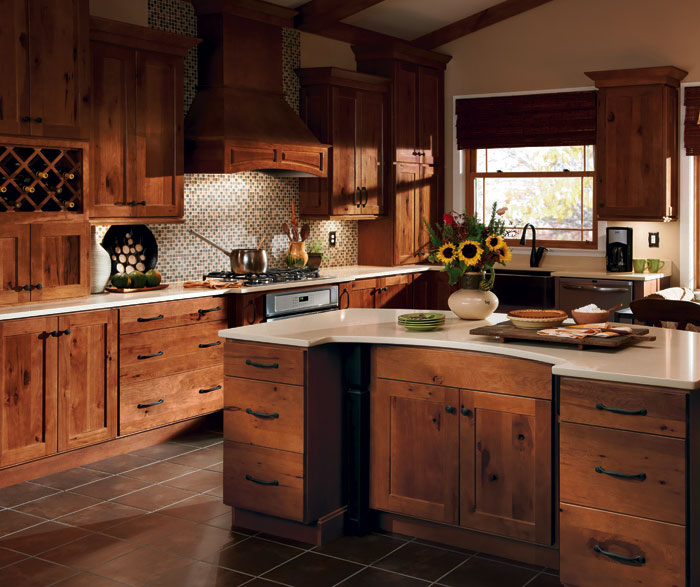 Rustic Hickory kitchen cabinets with Dover doors in Terrain finish