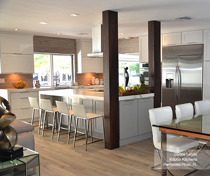 White Cabinets with a Gray Kitchen Island