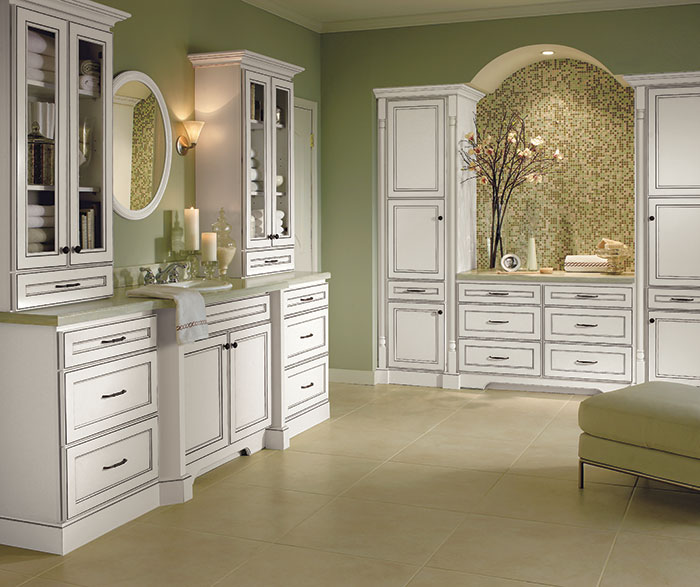 Alpine white bathroom cabinets by Homecrest Cabinetry