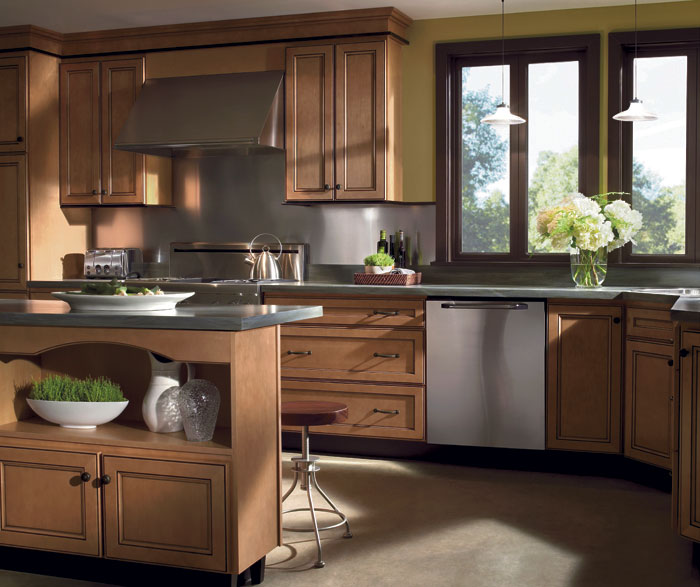 Light Maple cabinets with glaze by Homecrest Cabinetry