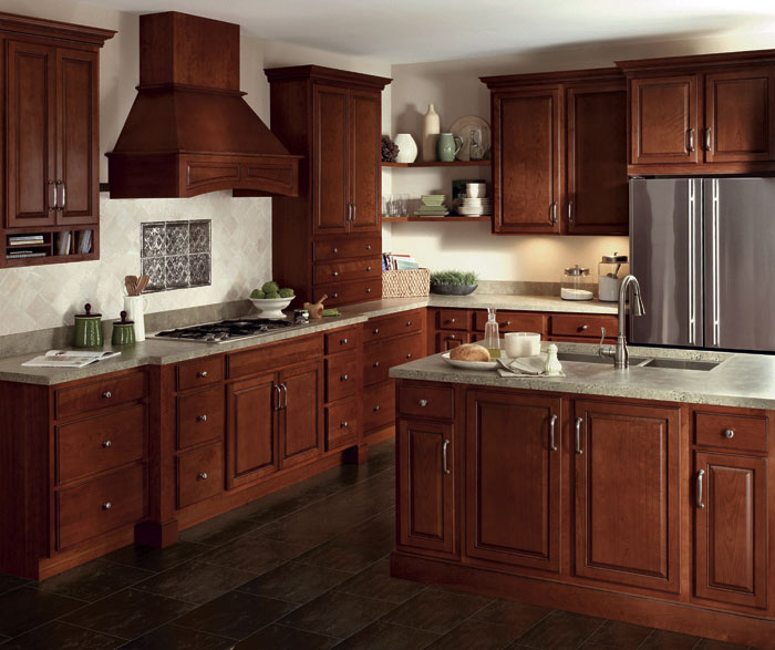 Glazed Cherry cabinets in a traditional kitchen by Homecrest Cabinetry ...