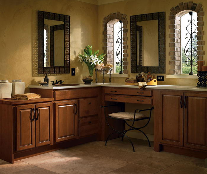 Hickory bathroom cabinets by Homecrest Cabinetry