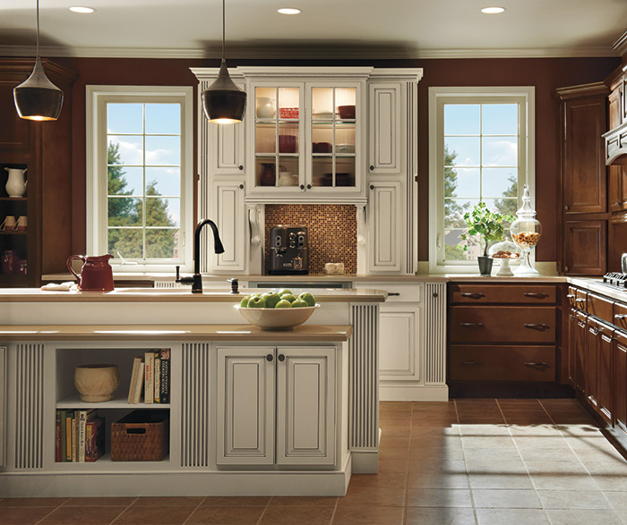 Dark maple kitchen cabinets with ivory accents homecrest for Maple kitchen cabinets