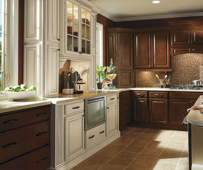 ... Dark Maple Kitchen Cabinets In Bison Finish With Ivory Accents ...