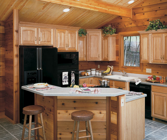Natural Hickory kitchen cabinets by Homecrest Cabinetry