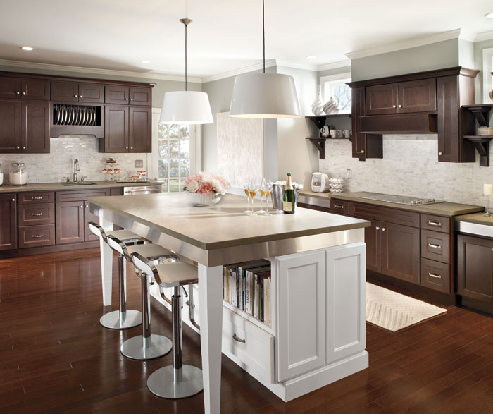 Dark Cherry Cabinets With Kitchen Island