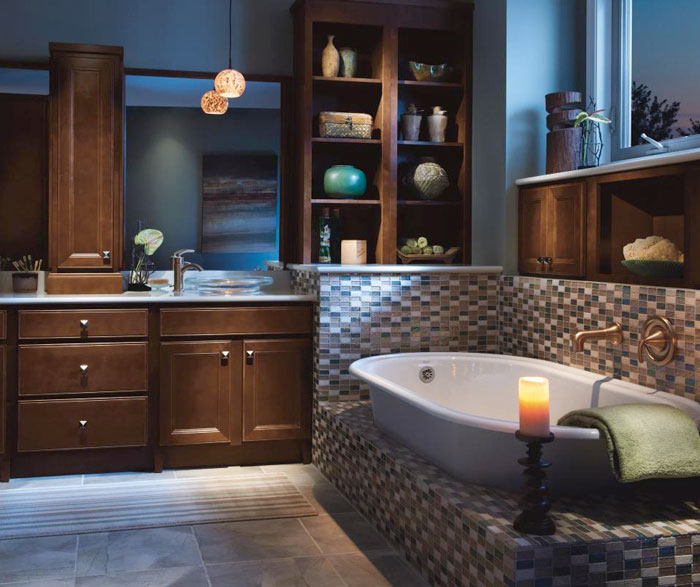 Dark Maple bathroom cabinets by Homecrest Cabinetry