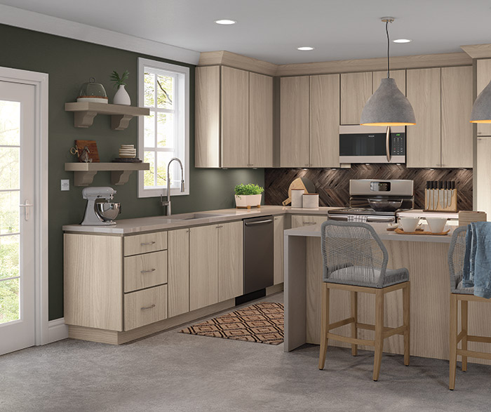 Contemporary Juno Textured Laminate kitchen cabinets in Tusk finish