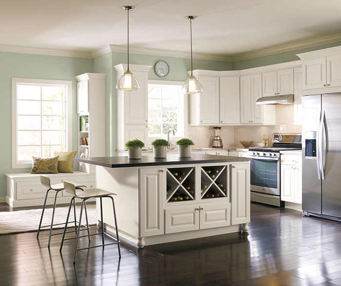 Off White Painted Kitchen Cabinets in French Vanilla