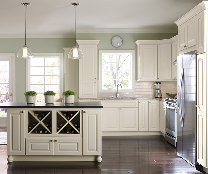 Montella off-white painted kitchen cabinets in French Vanilla