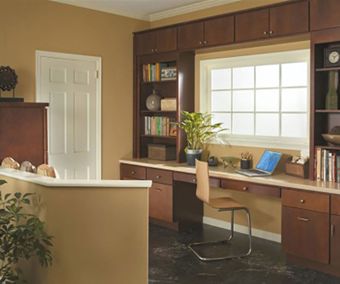 Casual office cabinets by Homecrest Cabinetry