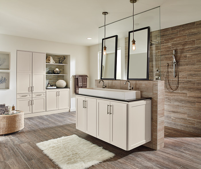 Sedona off white bathroom cabinets in French Vanilla