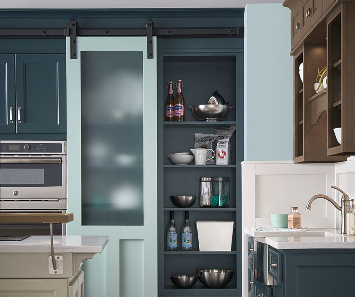 ... Neutral Kitchen With Blue Cabinets ...