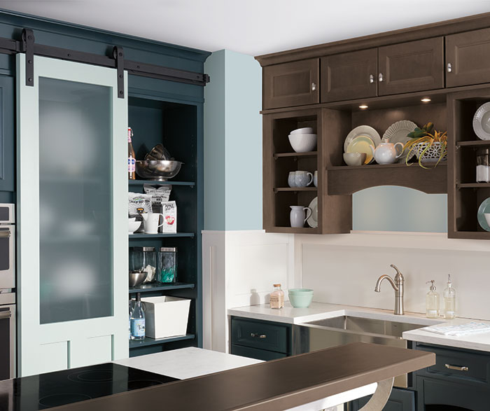 Neutral Kitchen with Blue Cabinets