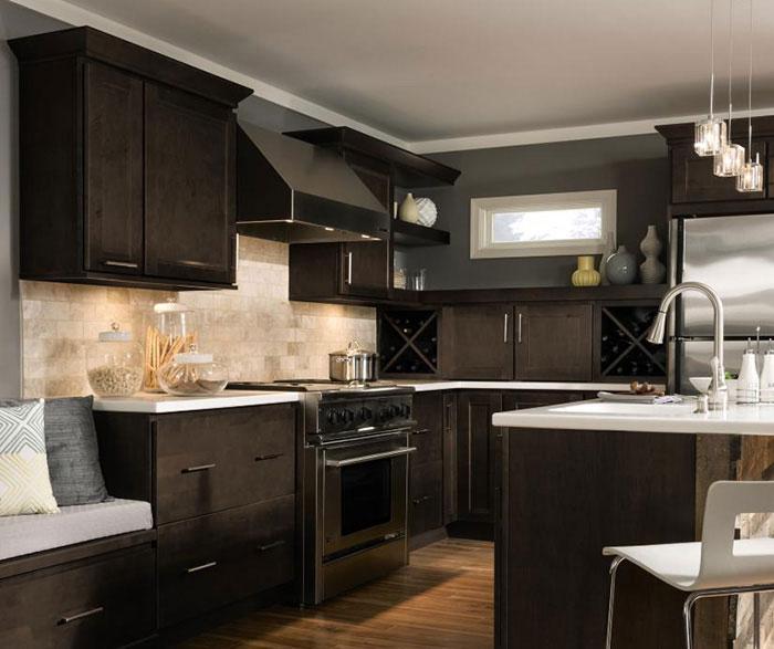 Dark Maple Cabinets in Casual Kitchen - Homecrest
