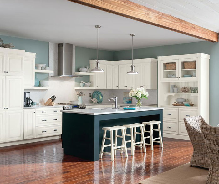 Alpine White Glazed Cabinets with Blue Kitchen Island