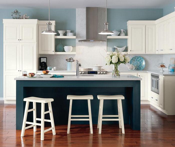 ... Alpine White Glazed Cabinets With Cadet Blue Kitchen Island ...