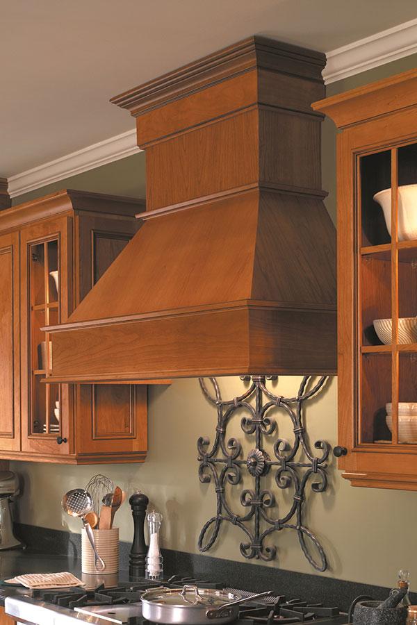 Designer Wood Range Hood Arch; HomWoodHoodCAuCoA & Wood Hood Canopy - Homecrest Cabinetry