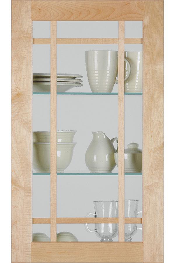 Shaker Mullion Cabinet Door With Antique Glass Insert;  HomGlsArborACraftsClearD
