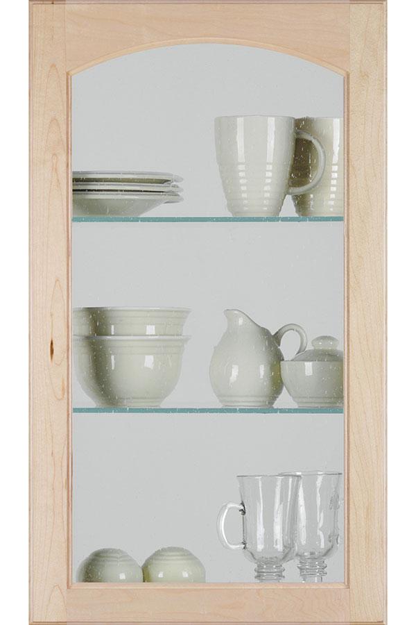 HomGlsHeartlCutForGlssSeedD2 - Arch Glass Cabinet Door With Seeded Insert - Homecrest