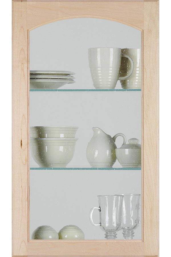 Arch Cut For Glass Cabinet Door With Seeded Glass Insert;  HomGlsHeartlCutForGlssBevelD2