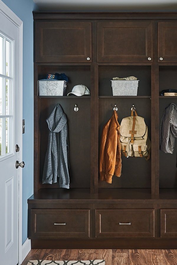 Mudroom stacked wall cabinet shown in an entry way
