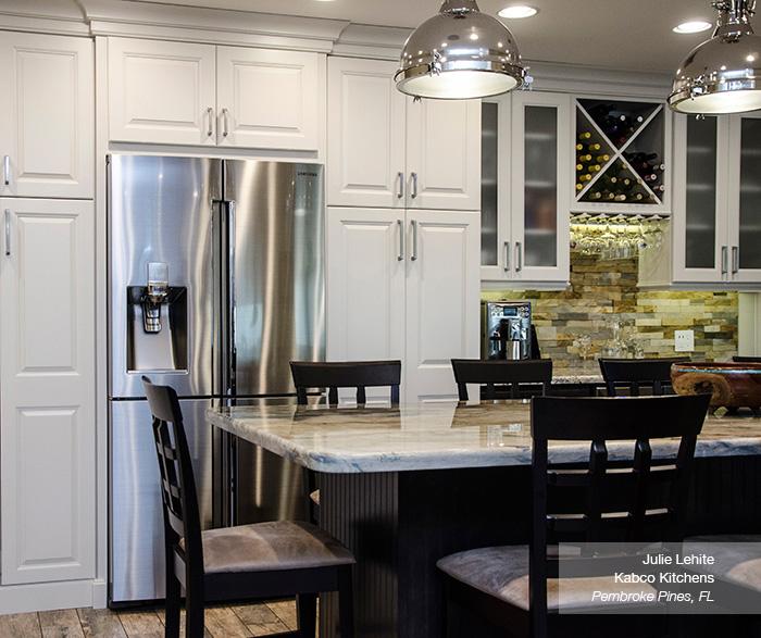 Off White Cabinets with Dark Kitchen Island - Homecrest