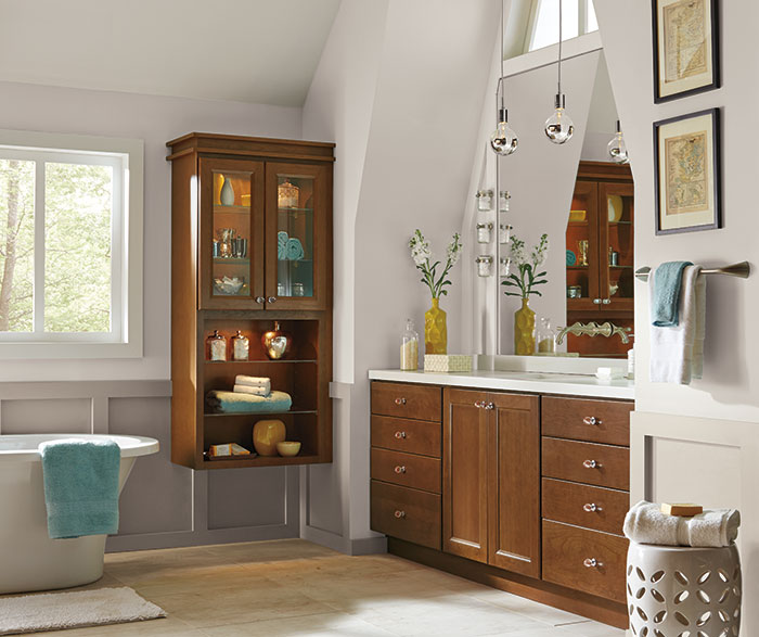 Cherry Cabinets Casual Bathroom