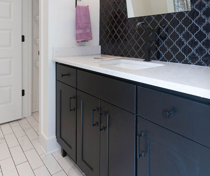 Black bathroom cabinets in the Dover door style