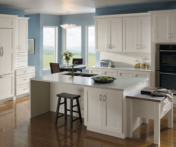 Kitchen with painted Maple cabinets by Homecrest Cabinetry