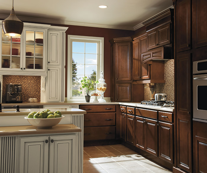 Dark Maple kitchen cabinets in Bison finish with Ivory accents