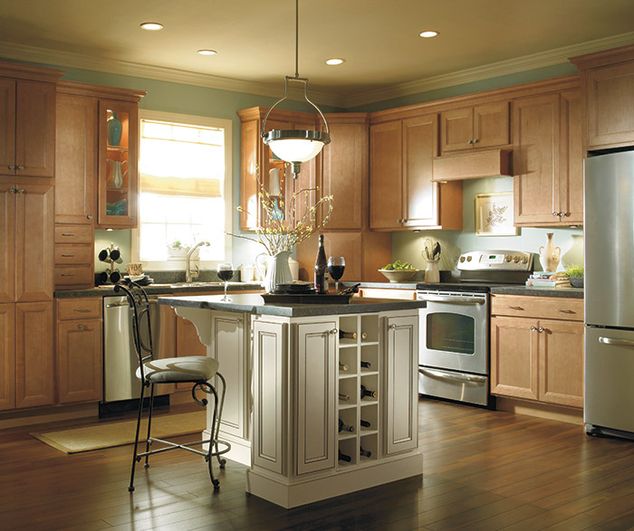 Jordan light Maple kitchen cabinets in the Ginger finish