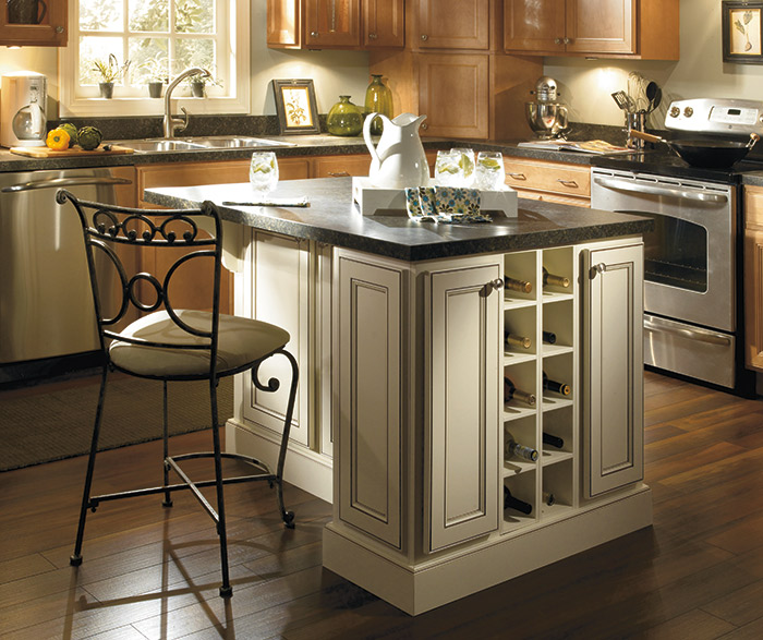 Close-up of Ivory island in kitchen with Jordan Maple Ginger cabinets