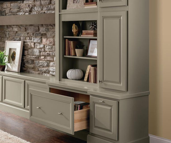 Close up of wall bookcase cabinet with open drawer in casual office