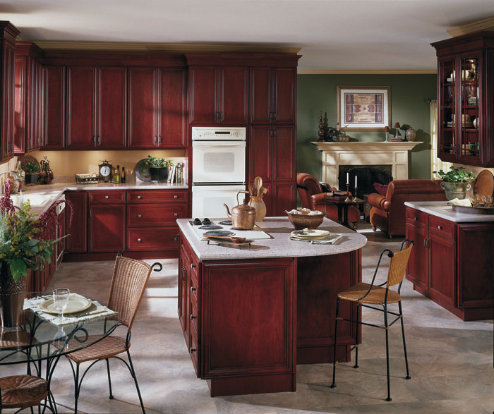 Traditional burgundy kitchen cabinets by Homecrest Cabinetry