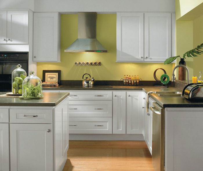 Alpine white shaker style kitchen cabinets by Homecrest Cabinetry