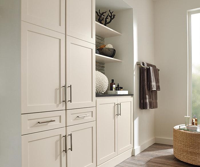 Sedona off white bathroom cabinets in French Vanilla