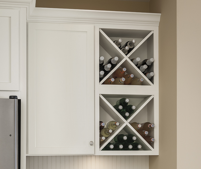 Close-up of wine storage in kitchen with Sedona white Shaker cabinets